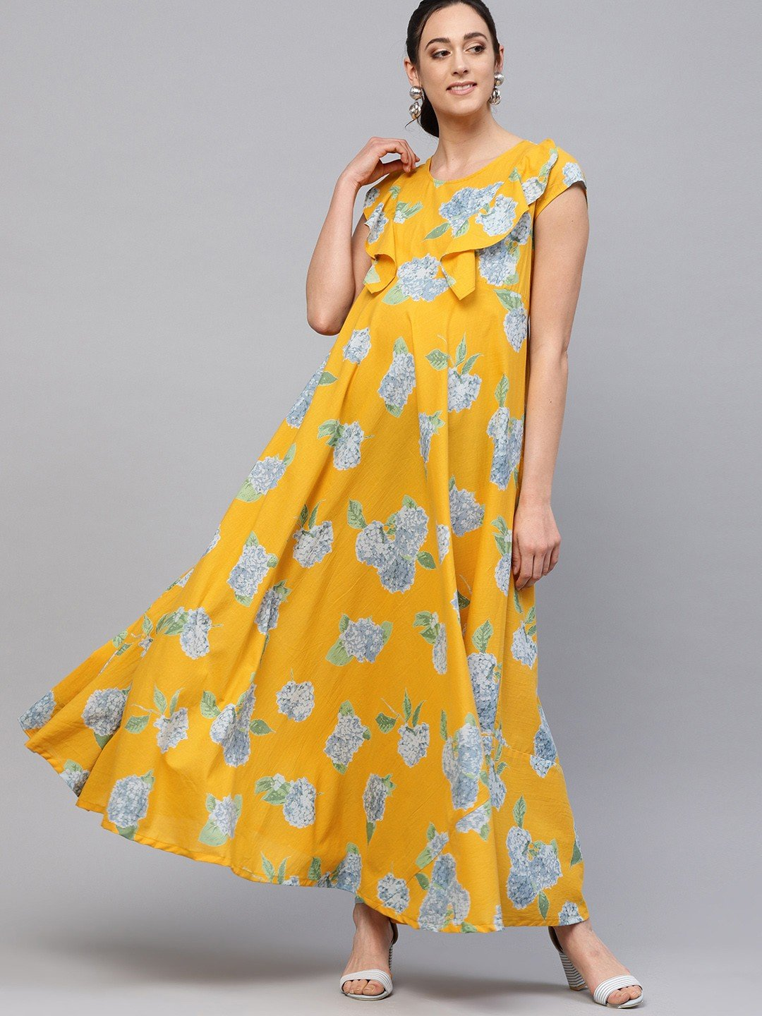 Adaa - Yellow Floral Printed Flared Maternity Maxi