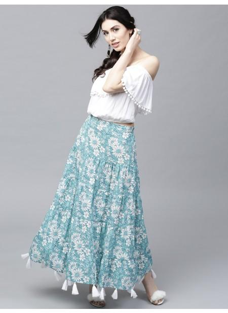 Adaa Sky Blue Floral Printed Tiered Skirt