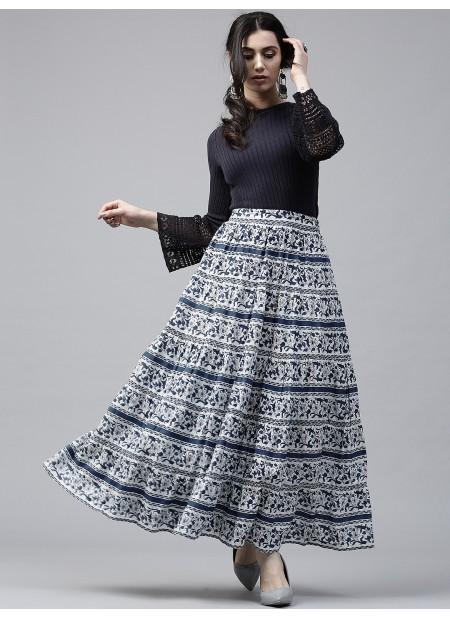 Adaa Navy Blue & White Printed Tiered Skirt