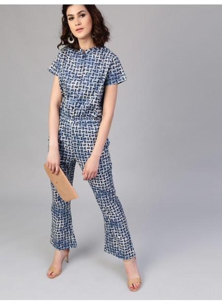 Adaa Indigo Printed Jumpsuit With Pockets
