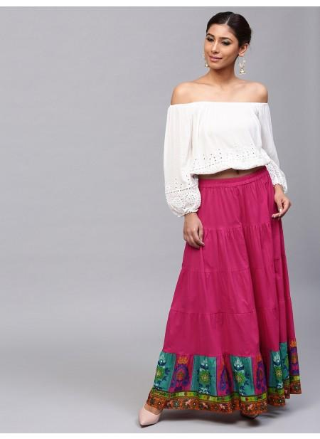 Adaa Magenta Solid Tiered Skirt With Printed Hemline