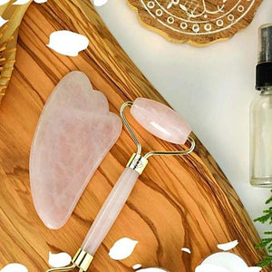 Rose Quartz Jade Double Duty Facial Roller Set