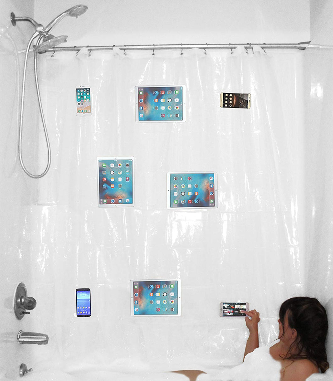 Shower Curtain Liner With Waterproof Media Pockets for Touchscreen SmartPhones & Tablet
