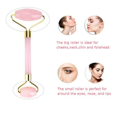 Load image into Gallery viewer, Rose Quartz Jade Double Duty Facial Roller Set