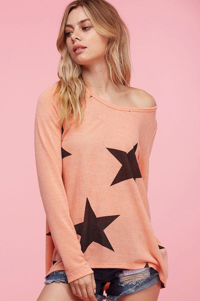 Lightweight Coral top with Star Print - Sale