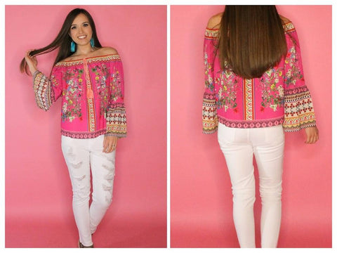 Fuchsia Floral with Bell Sleeve