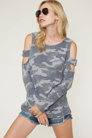 Long Sleeve Camo Top / Cold Shoulder - Sale
