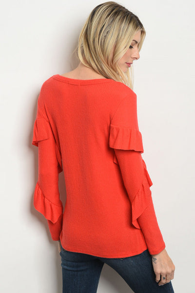 Long Sleeve Coral Ruffle Top - Sale
