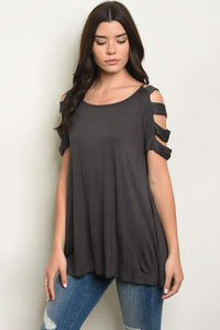 Charcoal Cut Out Sleeve Top