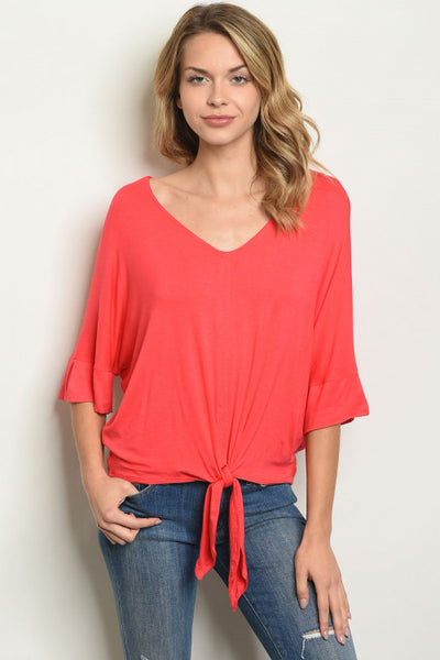 Coral Summertime Top with Front Knot
