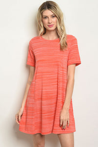 Coral Dress with Tie