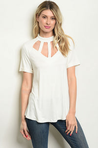 Ivory top With Chest Cutouts