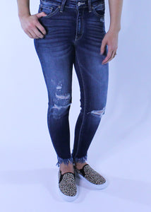 KanCan Distressed Denim with Frayed Ankle
