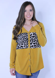 Animal Print Mustard Blouse