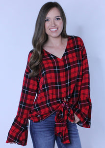 Bell Sleeve Plaid Top