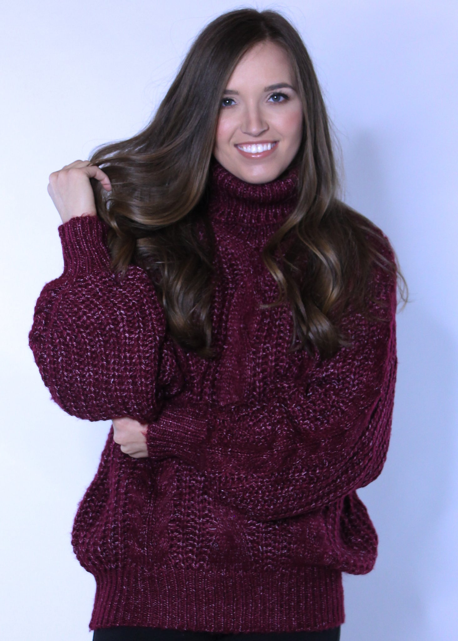 Knitted Turtle Neck Sweater in Burgundy