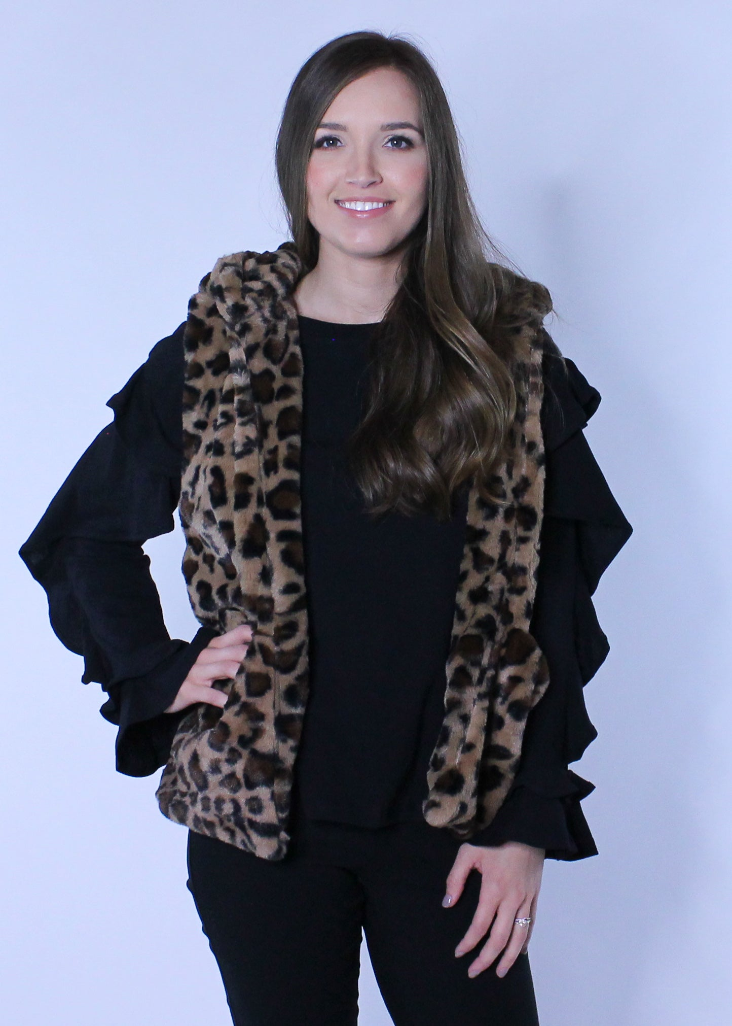 Vest In Leopard Faux Fur