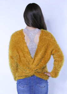 Satiny Soft Mustard Knit Sweater