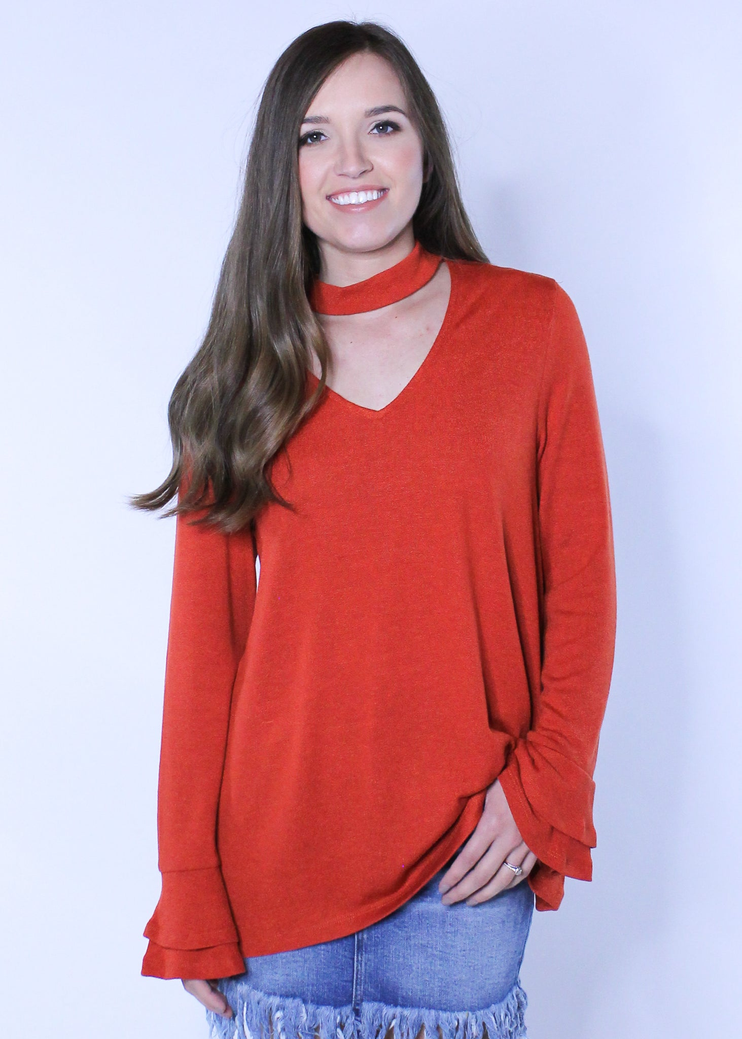 Sweater With Choker Detail - Rust