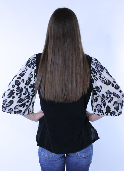 Animal Print 3/4 Balloon Sleeve Blouse
