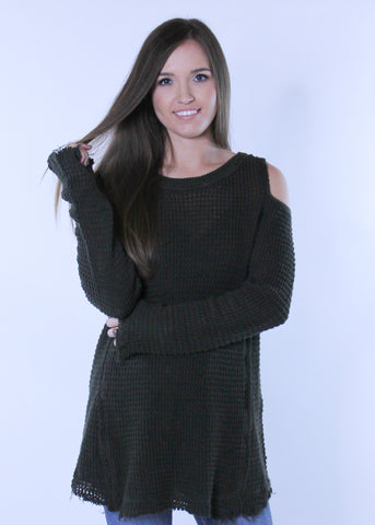 Cold Shoulder Sweater in Olive
