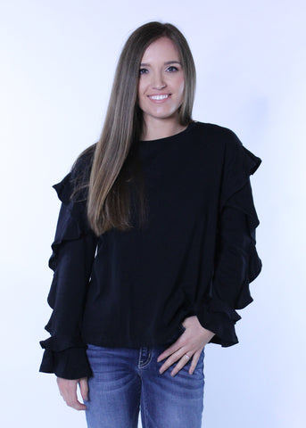 Ruffle Sleeve Sweater - Black