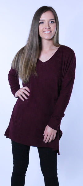 Thermal Knit Top - Burgundy
