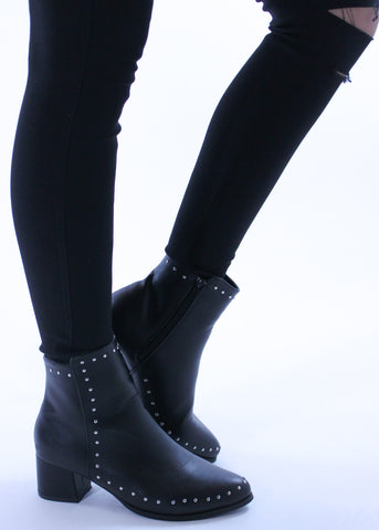 Studded Black Leather Booties