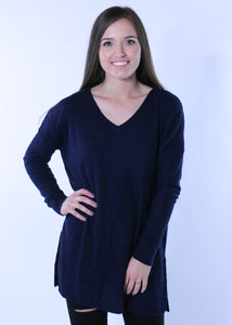 Navy Thermal Knit Top