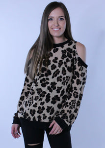 Leopard Print Cold Shoulder Sweater