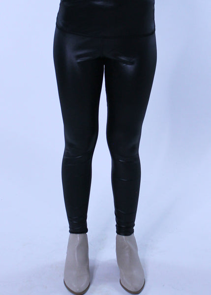 Leather Stretch Leggings - Black