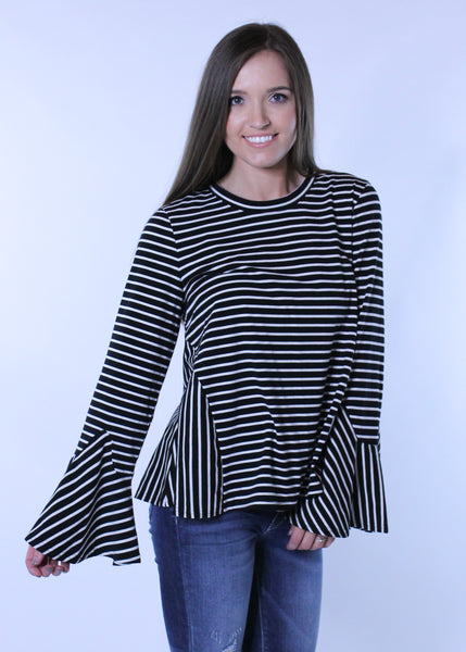 Striped Bell Sleeve Top - Black
