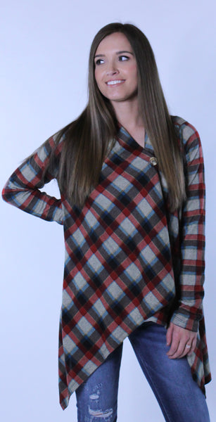 Plaid Wrap Cardigan