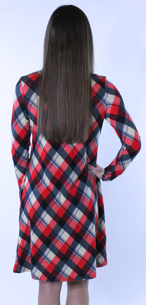 Red Plaid Print Dress