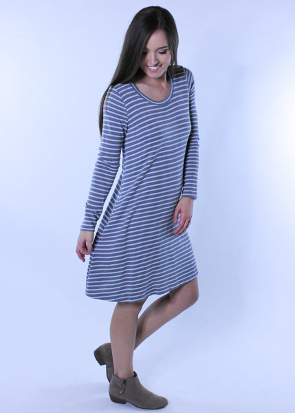 Gray and White Striped Dress
