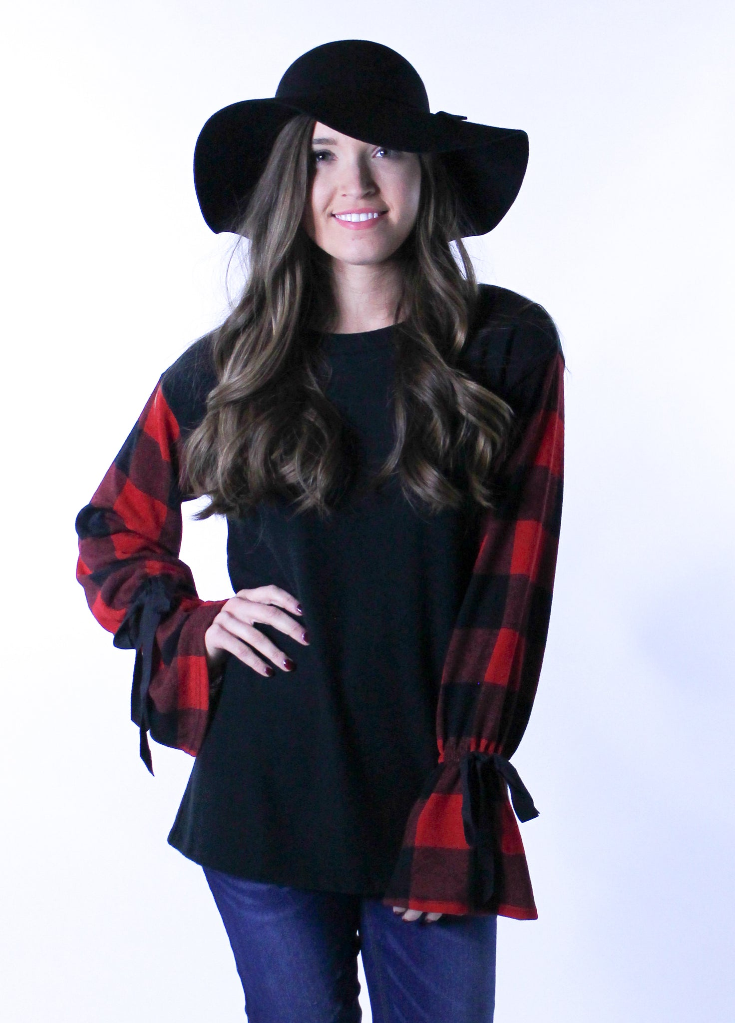Plaid Top with Bow Tie Bell Sleeves