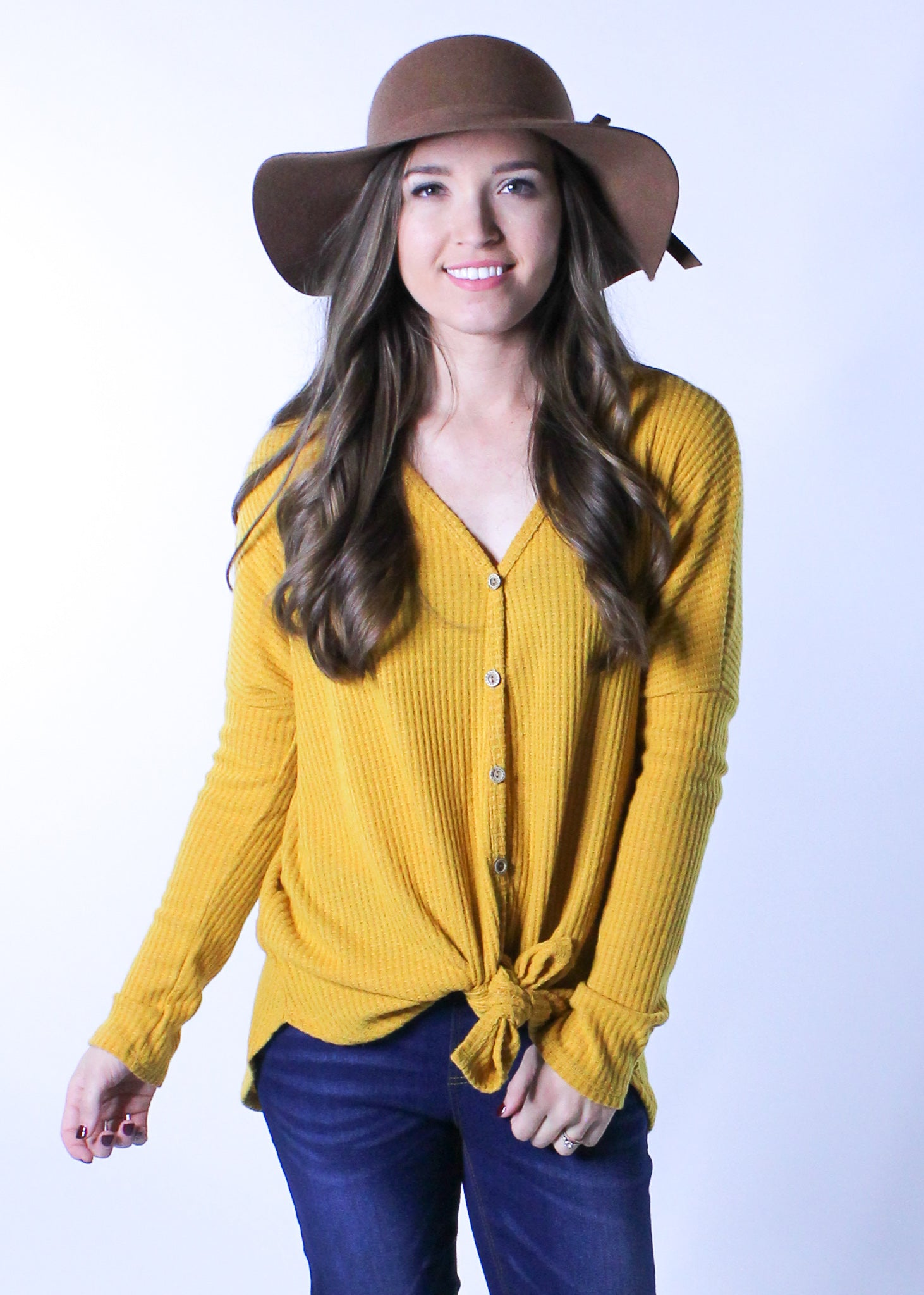 Button Detail Thermal Knit Top In Mustard