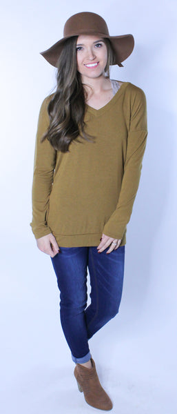 Open Back Dark Mustard Sweater