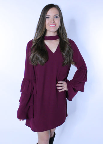 Wine Bell Sleeve Choker Dress