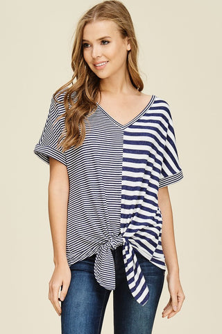 Contrast Navy Stripe Top with Front Tie