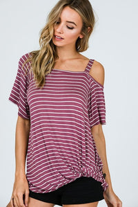 Burgundy Striped Top with Single Cold Shoulder