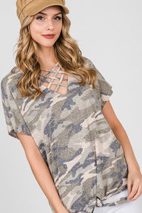 Camo Criss-Cross Chest Tee with Front Knot