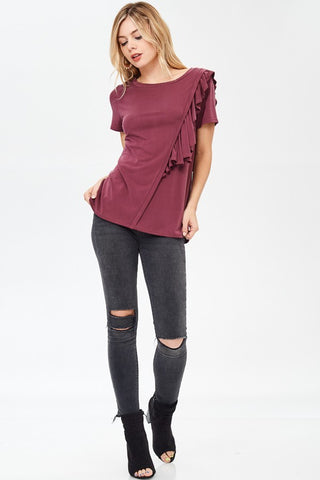 Burgundy Top with Asymmetric Ruffle