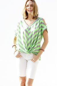 Fluorescent Green & Gray Striped Cold Shoulder Top
