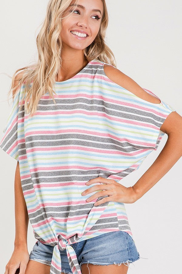 Cold Shoulder Pink, Blue, Green Stripe with Front Knot