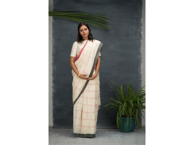 Tea and apples khadi saree