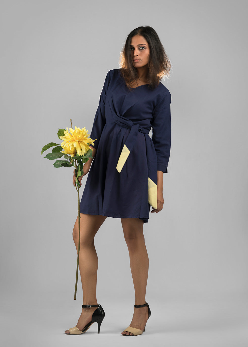 All girl wrap dress in midnight blue