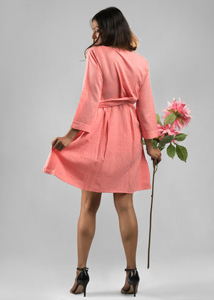 All girl wrap dress in salmon pink