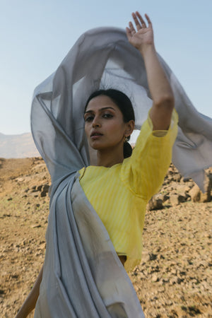 French mustard yellow and slate sari