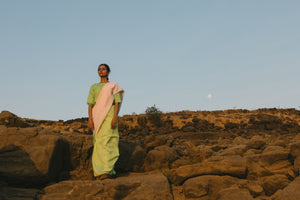Sea foam green and blush sari
